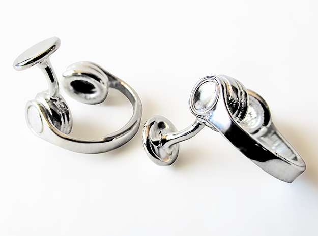 DJ Headphone Cufflinks in Polished Silver