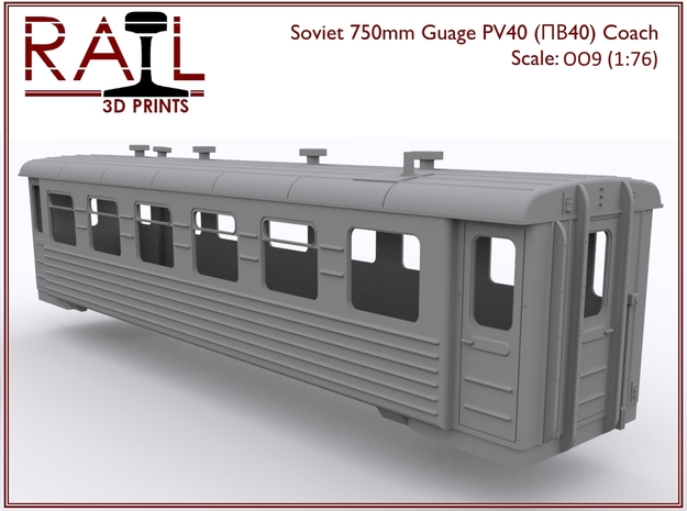 OO9 (1:76) - PV40 - Soviet 750mm Gauge Coach in Smooth Fine Detail Plastic