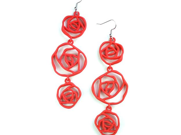 BLACK ROSE earrings 3d printed