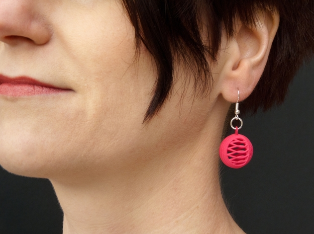 Quark Earrings - Basket in Pink Strong & Flexible Polished