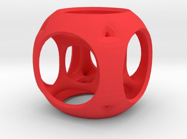 Hypercube-tesseract- pendant in Red Processed Versatile Plastic