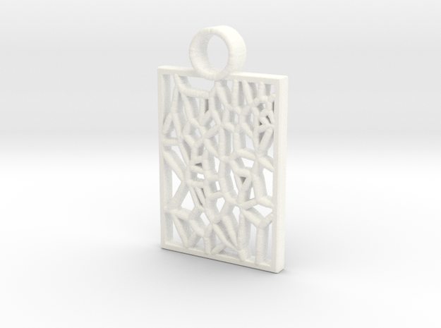 Fun Pattern Keychain in White Processed Versatile Plastic