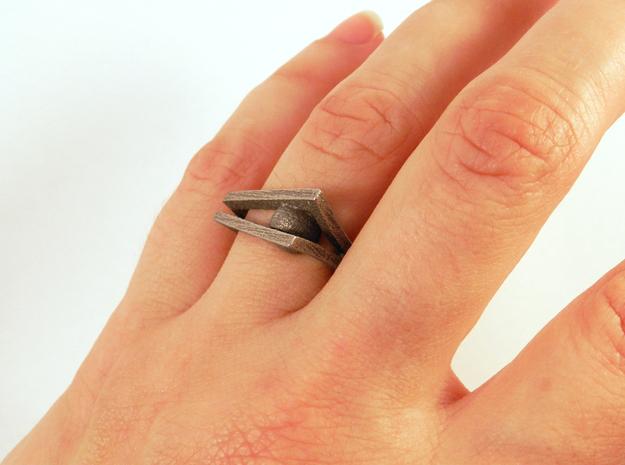 Peekaboo Ring 3d printed Steel