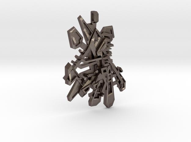 Pendant ONTWAKEN in Polished Bronzed Silver Steel