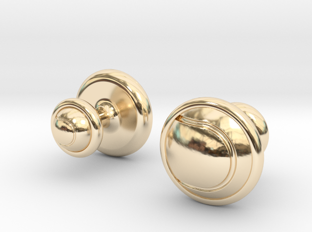 TENNIS BALL CUFFLINKS 1 in 14k Gold Plated Brass