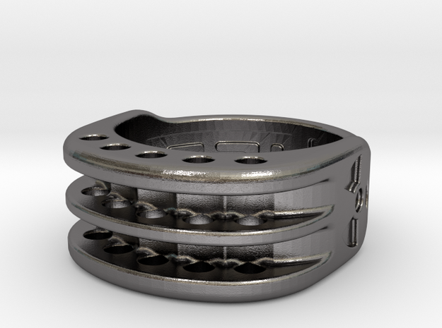US6 Ring XI: Tritium (Stainless Steel) in Polished Nickel Steel