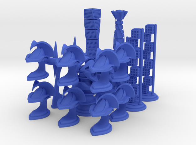 Chess Set Pieces Blue (PART 5) in Blue Processed Versatile Plastic