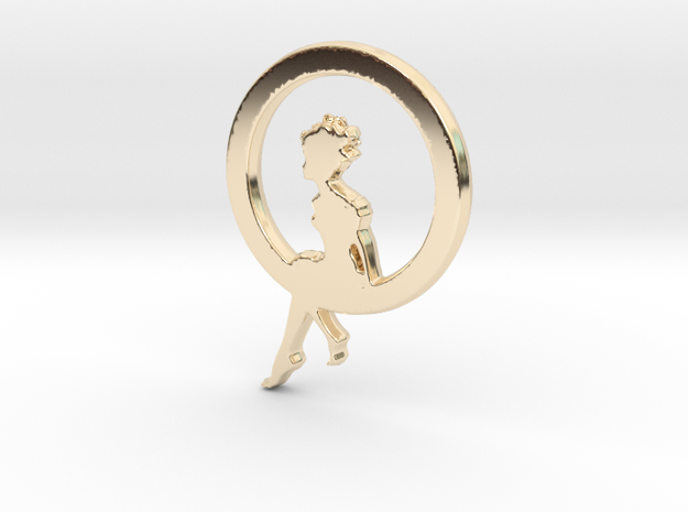 Girl In A loop Pendant in 14K Yellow Gold