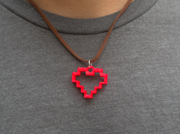 8 Bit Heart Pendant in Red Strong & Flexible Polished