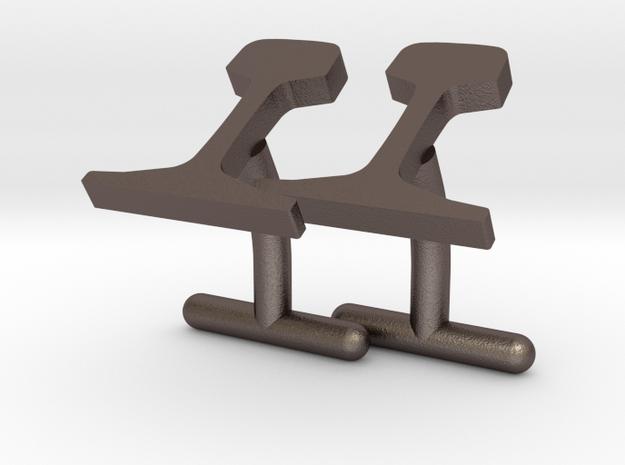 Rails Cufflinks in Polished Bronzed Silver Steel