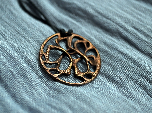 Cobwebs Pendant in Polished Bronze Steel