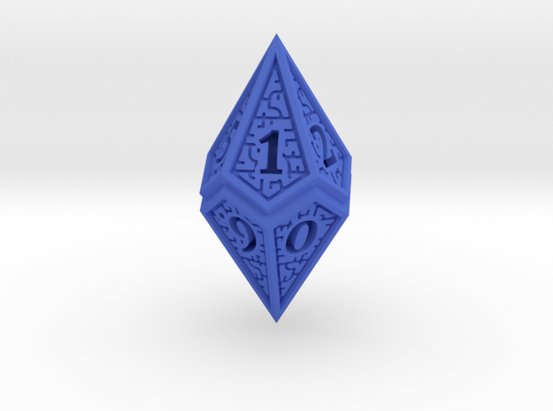 Hedron D10 (v2 open) Spindown - Solid in Blue Processed Versatile Plastic
