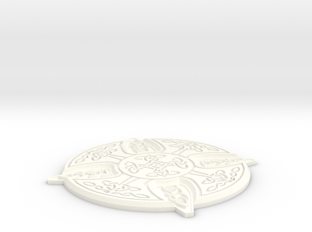 Celtic Design Coaster in White Strong & Flexible Polished