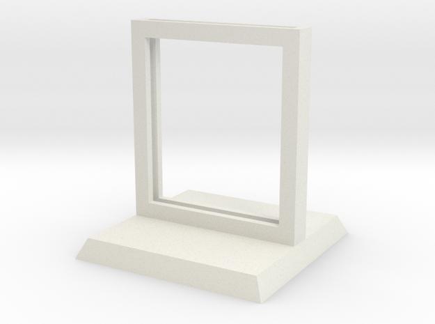"Paper Insert Miniature Stand 1"" (Square Base) in White Natural Versatile Plastic"