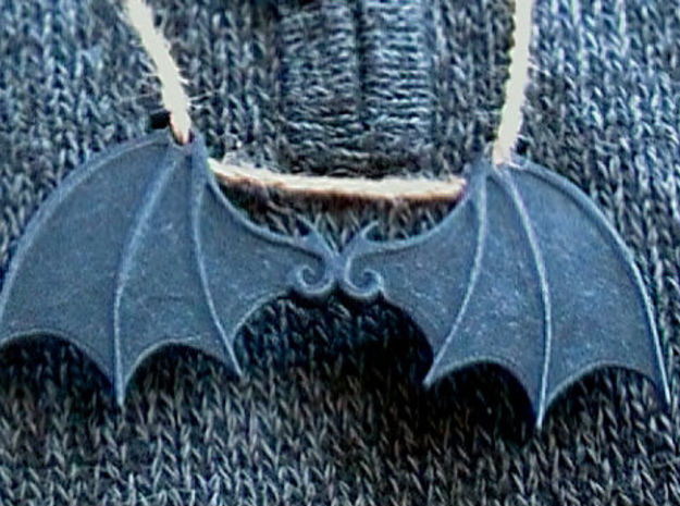 Bat wings 2 ring pendant in Black Natural Versatile Plastic