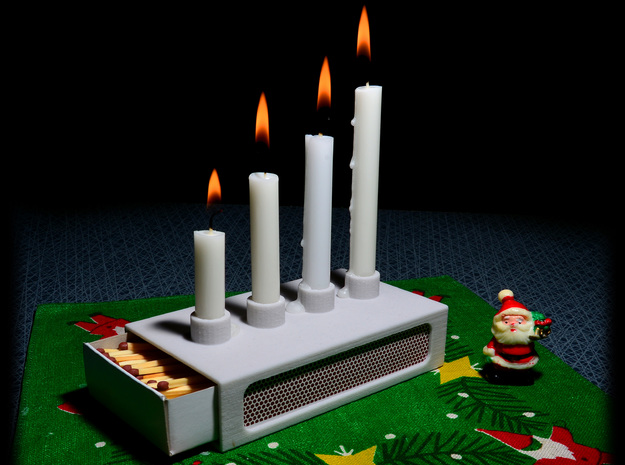 Advent candle- and match holder. in Natural Sandstone