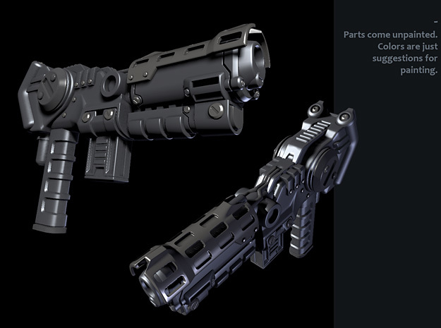 Combiner Pistol - Left Hand in White Strong & Flexible Polished