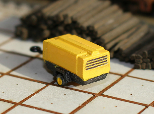 N Scale Atlas Copco Mobile Compressor (2pc) in Yellow Processed Versatile Plastic