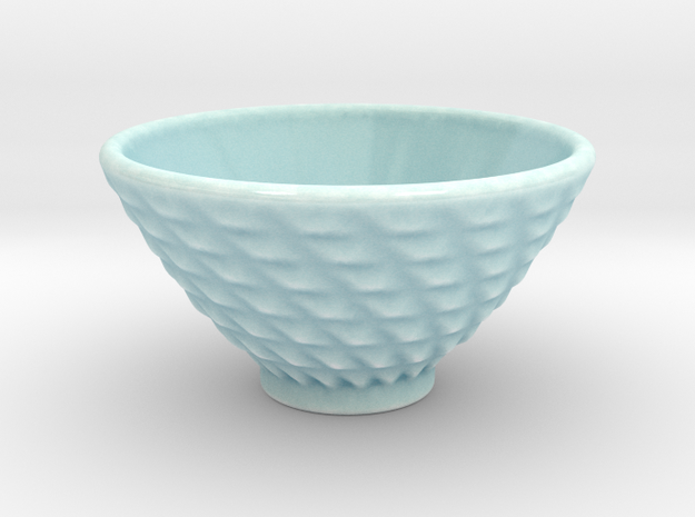 DRAW bowl - ceramic spiral bumps in Gloss Celadon Green Porcelain
