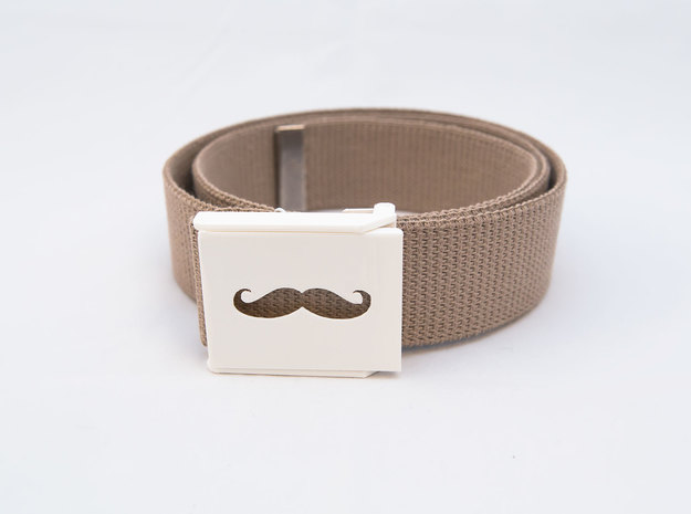 Mustache Belt Buckle 3d printed