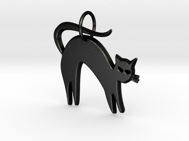 Pretty Kitty Pendant in Matte Black Steel