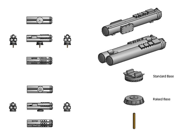 Mk32 torpedeo tubes kit x 1 - 1/96 3d printed Assembly instructions