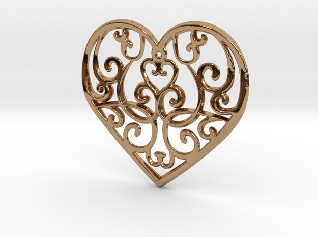 Christmas Heart Ornament in Polished Brass