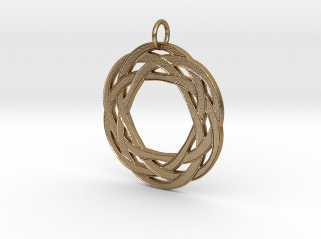 Circular Celtic Knot Pendant in Polished Gold Steel