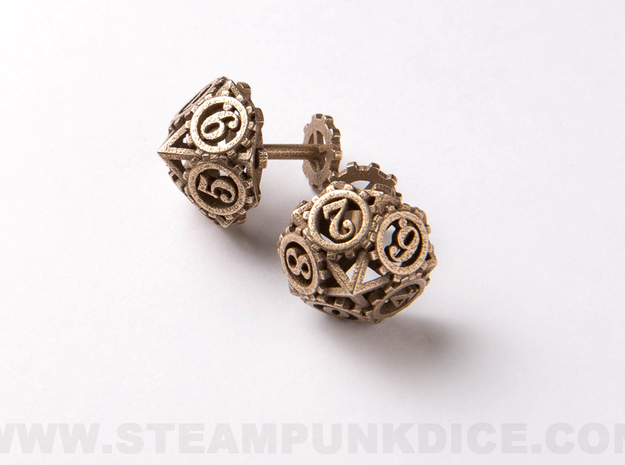 Steampunk Gear Cufflinks in Polished Bronzed Silver Steel