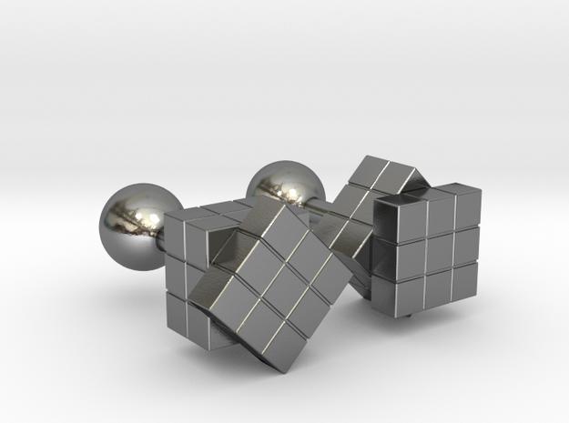 Rubik Cu(be)fflinks in Polished Silver