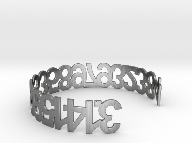 PI Bracelet in Fine Detail Polished Silver