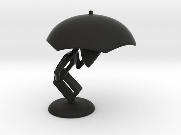 Lele with Umberlla - DeskToys in Black Natural Versatile Plastic