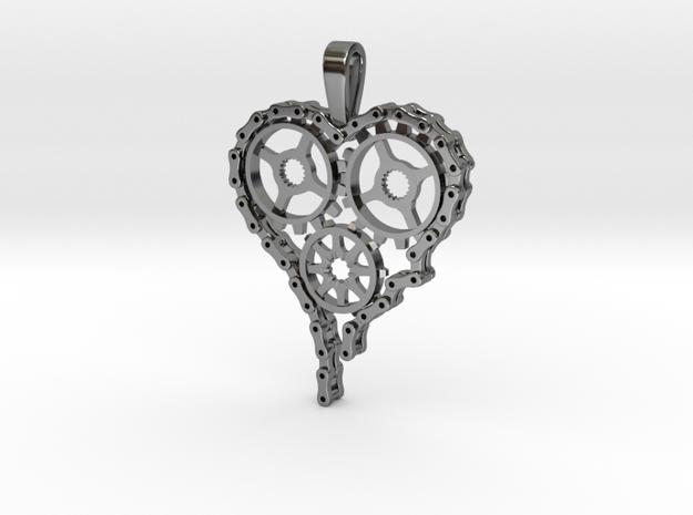 Steam Punk Gear Heart in Fine Detail Polished Silver