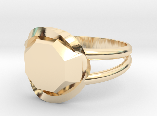 Size 9 Diamond Ring in 14k Gold Plated Brass
