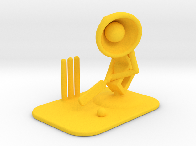 """Lala """"Playing Cricket"""" - DeskToys in Yellow Strong & Flexible Polished"""