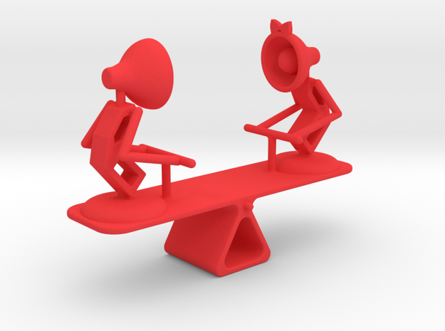 """Lala & Lele """"Playing Seesaw"""" - DeskToys in Red Strong & Flexible Polished"""