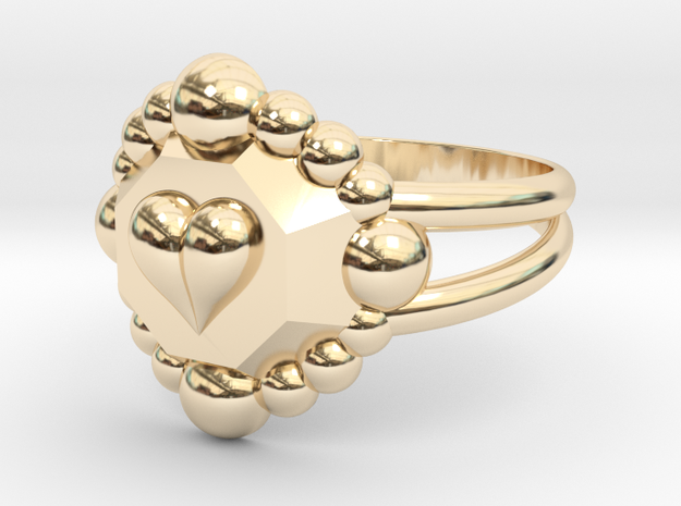 Size 9 Diamond Heart Ring E in 14k Gold Plated Brass