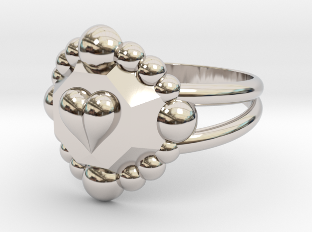 Size 10 Diamond Heart Ring E in Rhodium Plated Brass