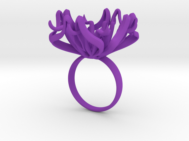 Ring The Lily  / size 9 1/2 US ( 19,4 mm) in Purple Processed Versatile Plastic