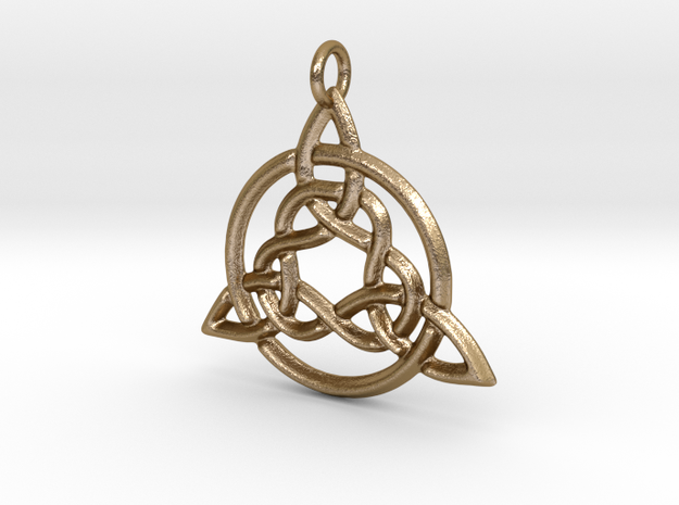 Circled Trinity Pendant in Polished Gold Steel
