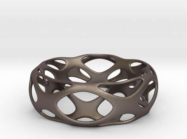 Frohr Desgin Bracelet Voronoi Style 4-11 in Polished Bronzed Silver Steel
