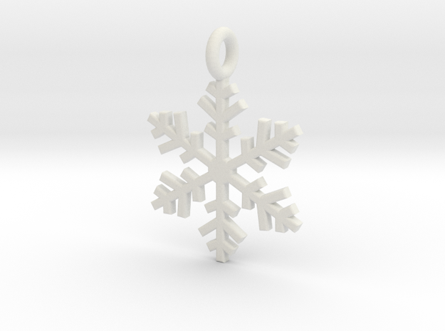 Snowflake Charm 1 in White Natural Versatile Plastic
