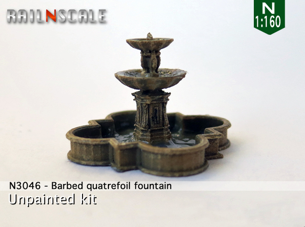 Barbed quatrefoil fountain (N 1:160) in Smooth Fine Detail Plastic
