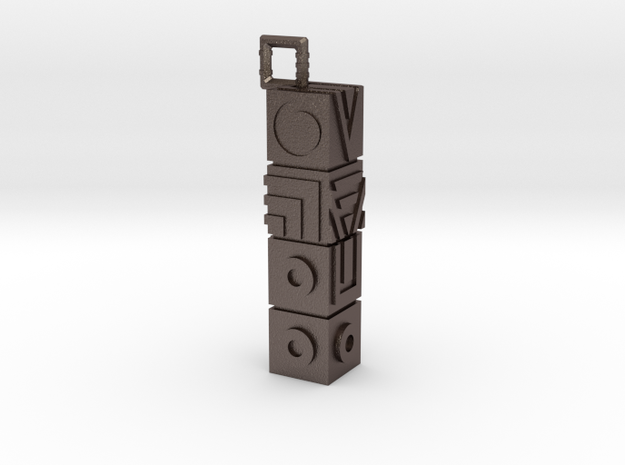 Monument Valley Totem Keychain in Polished Bronzed Silver Steel