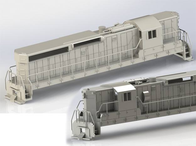 EMD SD24 OOScale No Metal Parts in White Natural Versatile Plastic
