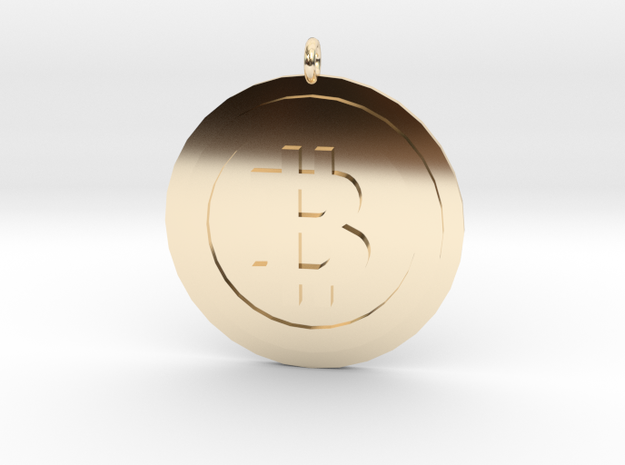 "Bitcoin ""We Use Coins"" Style in 14K Yellow Gold"