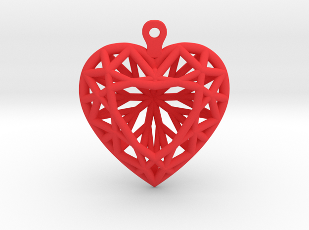 3D Printed Diamond Heart Cut Earrings  in Red Processed Versatile Plastic