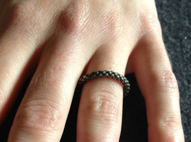 6-strand Round Braid Ring in Polished Bronzed Silver Steel