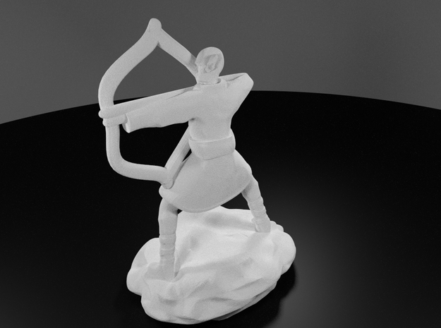 Elf Monk In Robes With LongBow in White Processed Versatile Plastic
