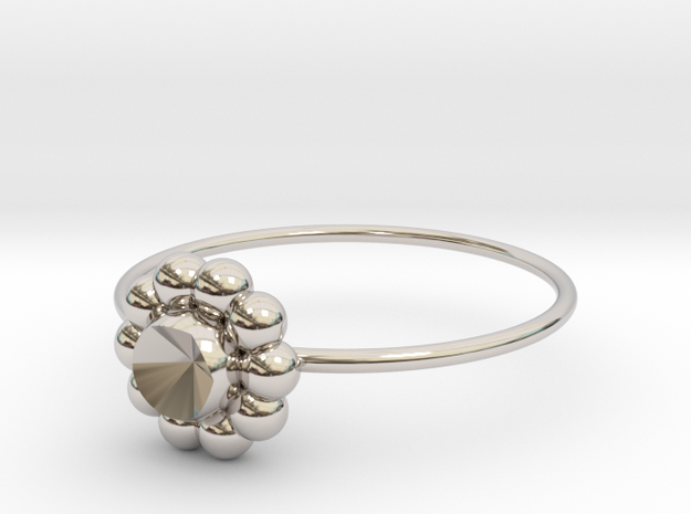 Size 10 Shapes Ring S6 in Rhodium Plated Brass